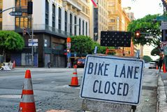 Sorry, we`ve closed the bike lane for your inconvenience. More construction work closing down car and bike lanes, inconveniencing everyone Stock Photography