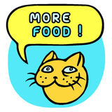More food! Cartoon Cat Head. Speech Bubble.  Stock Photos