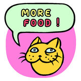 More food! Cartoon Cat Head. Speech Bubble. Vector Illustration. Stock Photos