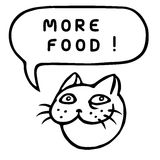 More food! Cartoon Cat Head. Speech Bubble. Vector Illustration. Royalty Free Stock Photography