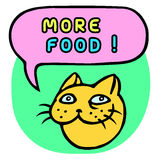 More food! Cartoon Cat Head. Speech Bubble. Vector Illustration. Royalty Free Stock Images