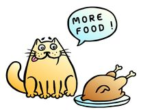 More food. Speech bubble. Orange cat and fried chicken. Vector illustration. Funny cartoon cool character Royalty Free Stock Photo