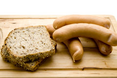 More grain bread with frankfurter Royalty Free Stock Images