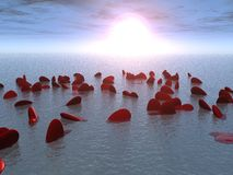 More heart. It is a lot of hearts floating in the sea on sunrise Stock Illustration