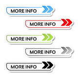 More info buttons with arrows - labels on the white background. Illustration Royalty Free Stock Photo