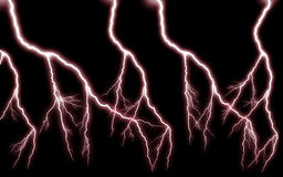 More lightning cascade power / Red horror Stock Image