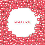 More likes. Social media icons in abstract shape background with pink counter. More likes concept in graceful vector illustration Stock Photo