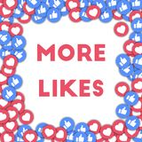 More likes. Social media icons in abstract shape background with scattered thumbs up and hearts. More likes concept in stunning vector illustration Royalty Free Stock Photography