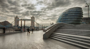 More london. View on Tower Bridge from More London Place on an early cloudy morning Royalty Free Stock Photos