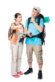 more lost perplexed tourists with backpacks and map on a white Royalty Free Stock Photography