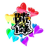 More love less hate.Gay pride  lettering calligraphic concept, i Stock Photos