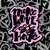 More love less hate.Gay pride  lettering calligraphic concept, i Royalty Free Stock Images