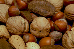 More mixed nuts on blue Royalty Free Stock Image