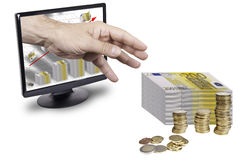 More money. This image shows a screen with a chart of money and a hand rising out of the screen to get more money Royalty Free Stock Photo