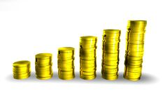 More Money. 6 piles of gold coins increasing Stock Photography
