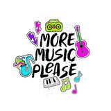 More Music Please Lettering With Funny Stickers. Stock Images