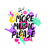 More Music Please Lettering With Funny Symbols. Royalty Free Stock Photo