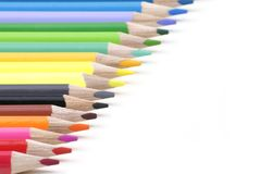 More pencils of different colors paragraph on a wh Stock Photo