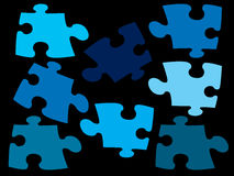 More piece of jigsaw earth tone color on black screen. For your design royalty free illustration