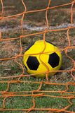 More Points. Soccer ball inside net,winning poiny Royalty Free Stock Photo