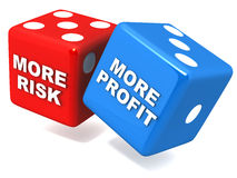 More risk more profit. The more the risk, the more the profit or loss, concept of profit and loss related to business or gamble, with words on red and blue dice stock illustration
