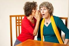 More shocking senior gossip. Two senior ladies gossiping and whispering shocking news Stock Photography