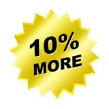 More Sign. Yellow 10% more sign - web button - internet design Royalty Free Stock Photo