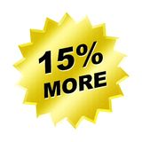 More Sign. Yellow 15% more sign - web button - internet design Stock Photography