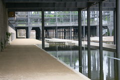 Underground. More standing water in steel beams with steel columns resting on it Stock Photo