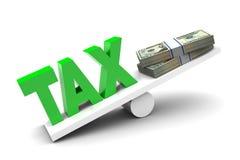 More Tax less money. Illustration on white background Stock Images