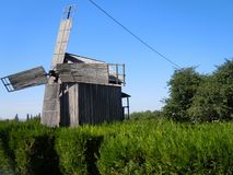 An old windmill in the historical land of Dobrogea in south east of Romania. More than a century ago, Dobrogea was often called the Land of Windmills royalty free stock photography