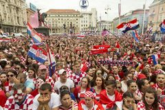 Croatian team coming home after final FIFA 2018 World Cup Royalty Free Stock Images