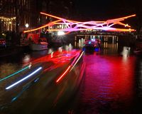 Amsterdam Light Festival. More than 30 works of art light up Amsterdam`s historic city center during the winter months as part of the annual Amsterdam Light royalty free stock photos