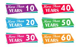 More than 10, 20, 30, 40, 50, 60, years tags for company, business an experiences. More than 10,20,30,40,50,60, years tags for company, business an experiences Stock Images