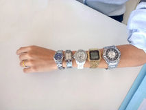 More time. 5 watches in hand Royalty Free Stock Image