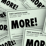 More Word Checks Increase Added Income Money Payment. More word on checks to illustrate increased or additional income, earnings, money, payment, salary or wages royalty free illustration