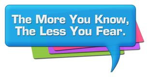 More You Know Less You Fear Colorful Comment Symbol. More you know less you fear text written over colorful background vector illustration