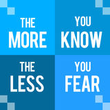 More You Know Less You Fear Blue Four Blocks. The more you know the less you fear text written over blue background royalty free illustration