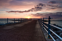 Morecambe Bay. A pier at sunset on the Morecambe Bay Royalty Free Stock Photos