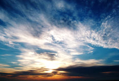 Morecambe-Schacht-Sonnenuntergang stockbilder