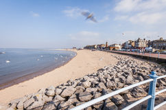 Morecambe seafront, Lancashire, UK. The empty sandy beach of the Lancashire seaside town of Morecambe on a bright Spring day stock photography