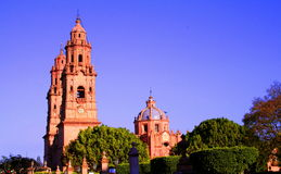 Morelia cathedral. View of the cathedral of the city of Morelia, michoacan, mexico Stock Photo