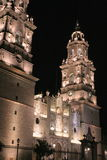 Morelia cathedral, mexico. Night view of the morelia cathedral in michoacan, mexico Royalty Free Stock Photography