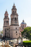 Morelia cathedral in Michoacan Mexico. Morelia Cathedral. Michoacan, Mexico. Vertical shot Stock Photos