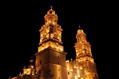 Morelia at night. Night view of the cathedral of the city of Morelia, michoacan, mexico Royalty Free Stock Photo