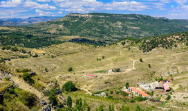 Morella é uma cidade murada antiga Fotos de Stock Royalty Free