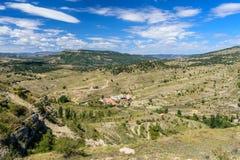 Morella é uma cidade murada antiga na Espanha Fotos de Stock Royalty Free