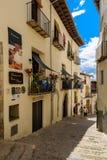 Morella é uma cidade murada antiga situada em uma cume no p Fotos de Stock Royalty Free