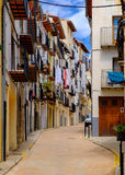 Morella é uma cidade murada antiga situada em uma cume no p Imagens de Stock Royalty Free