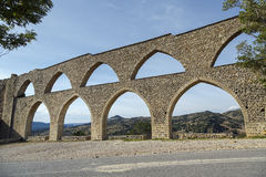 Morella aqueduct in Castellon Maestrazgo at Spain stock photography